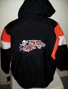 CINCINNATI BENGALS Starter Hooded Half Zip Jacket THROW BACK STYLE LG XL