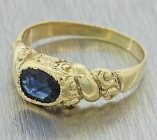 1880s Antique Victorian Estate 14k Solid Yellow Gold .92ctw Oval Sapphire Ring