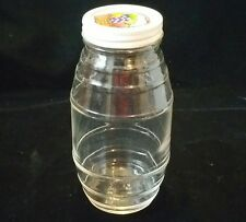 "HAZEL ATLAS 7.75"" BARREL BELLY SHAPED CLEAR GLASS RIBBED JELLY MASON CANNING JAR"
