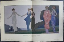 André-E. MARTY Pochoir Art Déco ORIGINAL planche double 1914 GAZETTE BON TON