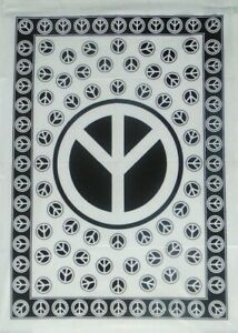 Indian Black White Throw Peace Sign Wall Hanging Poster Fabric Wall Art Tapestry