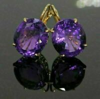 4Ct Round Cut Amethyst Huggie Hoop Halo Earrings 14k Yellow Gold Finish For Her