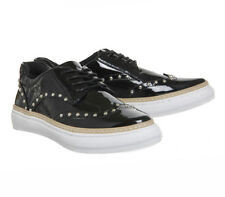 Office Proud Studded Black patent lace Up Trainer SIZE UK 8
