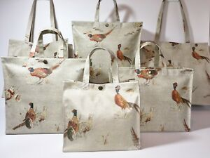 Nikki's Original Totes Cotton Oilcloth Bags Sandringham Pheasants or Hares