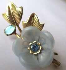 broche bijou vintage fleur bleu cristaux médaille religieuse couleur or 475