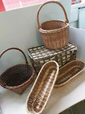 Bundle 5 Wicker Baskets Shabby Chic Rustic Storage Retail Display 65A