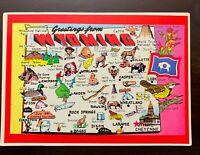 Greetings from Wyoming Souvenir Postcard Plastichrome Vintage Unused Map