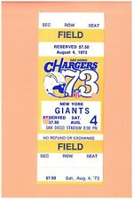 New York Giants @ San Diego Chargers 1973 ticket Dan Fouts Oregon NFL DEBUT G NP