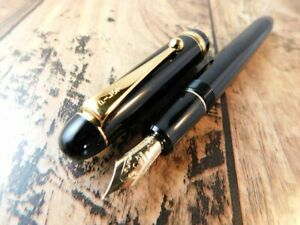 GOOD!! PILOT CUSTOM74 FOUNTAIN PEN VINTAGE BLACK GOLD 14k-585 Nib EF  JAPAN