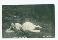 """Waiting for You"" Girl in Grass RPPC Antique Art Photo—Portland OR Cancel 1911"