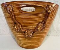 Vintage Ceramiche Italy Ceramic Pottery Rattan Style Basket Brown w/ Handles