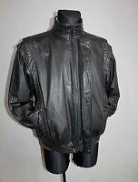 Vtg 80s Mens Black Leather AITOA Motorcycle Biker Cafe Racer Jacket Coat Size 50