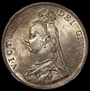 1890 Great Britain Double Florin 4 Shillings Silver Coin - NGC MS 62 - KM# 763