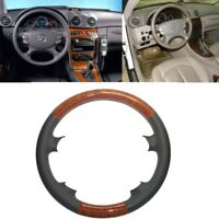 Gray Leather Light Brown Wood Steering Wheel Cover 03-09 W209 CLK R230 SL W219