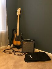 Squire P Bass Guitar with Display Stand, Soft Carry Case, Amp and Cables