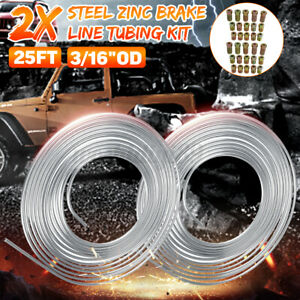 """2x 25Ft Coil Roll of 3/16""""OD Steel Zinc Brake Line Fuel Tubing Kit with"""