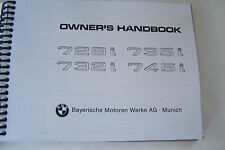 1985 BMW 745i Owners Manual e23 Parts Service 1984 1986 1983 1982 euro reprint