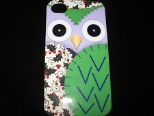 Owl Purple Face Cover Case for iPhone 4 4s New Green Wing Owl w/ Holly Case