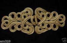 MR152 Gold Metallic Cord Fastener Frog Closure Knot Vintage/Dressmaker/Sewing