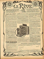 large advert for le reve (camera ) .  from  le rire dated 1901