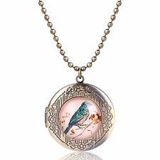 Luxury Vintage Style Bronze Bird Round Photo Locket Pendant Leather Chain N527