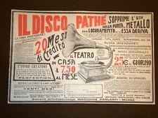 Pubblicità del 1909 Disco Pathè per grammofono Soc.internaz. macchine parlanti
