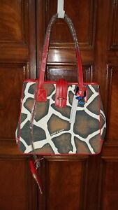 Dooney & Bourke Giraffe Animal Print Tote Shoulder Bag With Pouch canvas red