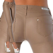 Sexy New Women's Beige Skinny Jeans Trousers Hipsters Faux Wet  Look  Z 105
