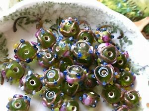 Vintage Wedding Cake Beads Glass Round Art NOS Lot 7mm White Pink Venetian #1563