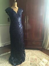 Tadashi Shoji Sequin Lace Gown ROYAL NAVY size 10 NWT!!