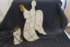 2 Vintage Stained Glass Angels Lighted Christmas