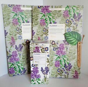 RHS Flower Blooms Lavender Garden Scented Drawer Liners x2 & Handcream Heathcote