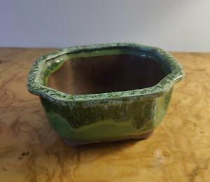 "Bonsai Ceramic Pot Glazed Green 7"""