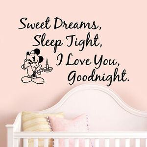 Mickey Mouse Sleep Quote Wall Stickers Art Girls Boys Kids Room Removable Decals