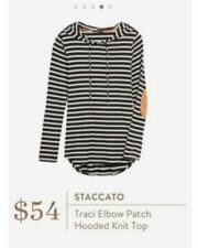 Stitch Fix Staccato Traci Elbow Patch Hooded Knit Top - black and white - Size L