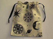 Cream and Silver Celestial, Sun, Moon and Star Tarot, Runes, Crystals  Angel Bag