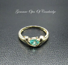 9K gold 9ct Gold pear Cut Apatite Solitaire Ring Size N 2.33g US Size 6 3/4