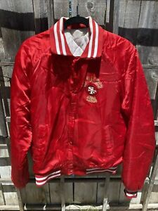 Vtg 1980s San Francisco 49ers Chalk Line Satin MEDIUM Jacket Mens RARE RED