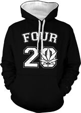 Four 20 420 Pot Leaf Weed Marijuana Ganja High Toke Smoke 2-tone Hoodie Pullover