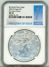 2020-W American Eagle Silver $1 Burnished First Day of Issue NGC MS 70
