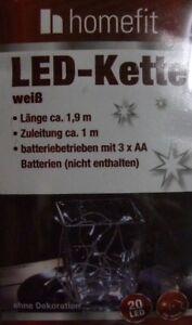 10 x Homefit LED Kette 20 LED's Weiß Batteriebetrieben Lichterkette 3 x 1,5V NEU