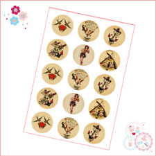 Edible Icing Cupcake Toppers Precut Circles x 15 - Sailor Jerry Style Tattoo Ink