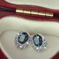 18k white gold gp made with SWAROVSKI crystal stud earrings oval blue purple