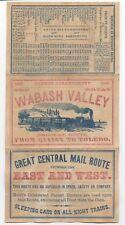 Rare 1863 Color Advertising Flier Wabash Valley Railroad Quincy to Toledo Ohio