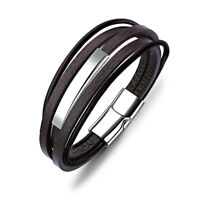 Mens Multilayer Leather Stainless Steel Magnetic Clasp Bangle Bracelet Wristband