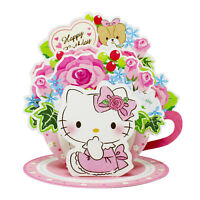 Hello Kitty Teacup Rose Bouquet Pop-up Birthday Card