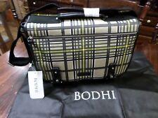 BODHI HANDBAGS NEW Tan Plaid Leather Trim Messenger Handbag Large $498.00