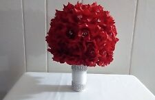 ROSE BOUQUET/RED/SILVER/WHITE/RHINESTONES
