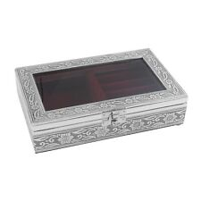 Aluminium Oxidized Jewelry Organizer Box Storage with Maroon Scratch Protection