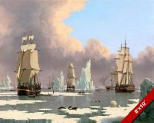 WHALING SHIPS IN THE ARTIC ICE FISHING PAINTING JOHN WARD ART REAL CANVAS PRINT